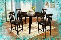 Counter Height Glass Dining New with Chairs High Quality