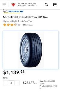 Michelin Latitude 245/60/R18 Tire, Firm Price, Toyota Highlander