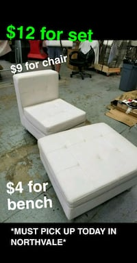 White Leather Chair and Bench / Foot Rest Tappan, 10983