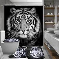 Bathroom Luxury Walk in Shower Remodel Curtain Toilet Cover Mat Non Slip Rug Set Home Deoration