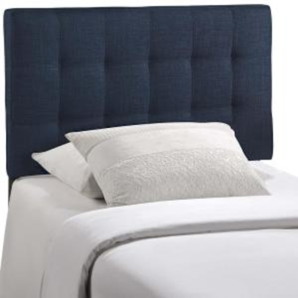san francisco eea9d 16b37 New in Box Modway Lily Upholstered Tufted Linen Fabric Headboard, Twin,  Navy, Retails $75