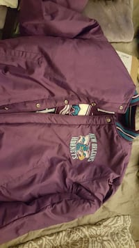 purple and teal new orleans hornets letterman jacket