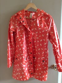 Red, Hooded Raincoat with White Umbrellas - Size M Calgary, T3E 2S9