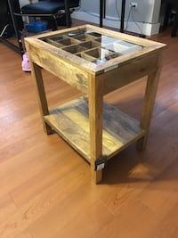 Brown wooden framed glass top table Forest Park, 60130