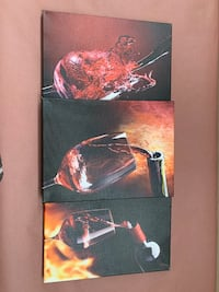 3pc set wine art prints