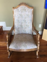 Vintage Swan Arm large upholstered rocking chair Prather, 93651