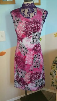 women's pink, black, and purple floral tank dress