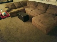 brown suede sectional couch with ottoman Stockton, 95212