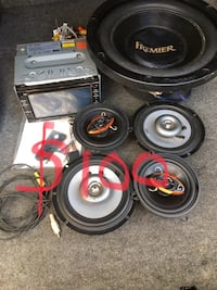 black and red Pioneer coaxial speakers