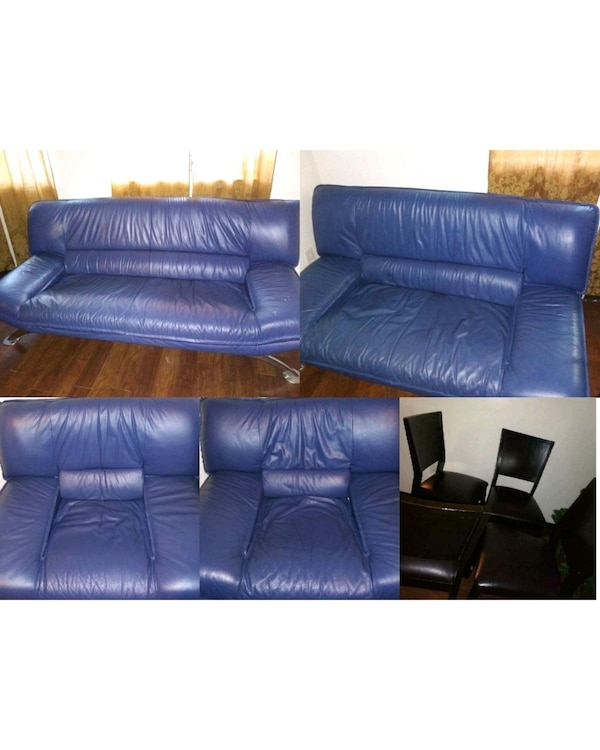 used blue leather 4 seat sofa for sale in east point letgo. Black Bedroom Furniture Sets. Home Design Ideas