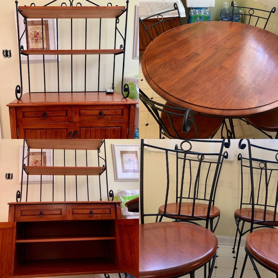 (SET/OBO) Beautiful Wood & Iron Cabinet Kitchen Hutch / Dining Table with 4 Chairs (Accepting Offers, Adjustable Bottom Shelves) 7103f483-e509-466e-830e-04ef4ae350aa