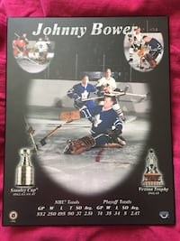 Johnny Bower wood plaque  Guelph, N1H 8L4