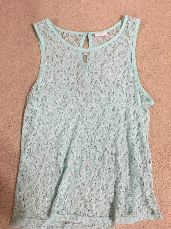 women's teal sleeveless top