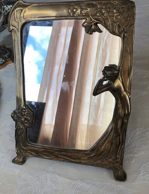 Art Nouveau brass mirror 9.5x13 inches 0