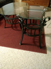 Used Black Metal Frame Glass Top Table For Sale In Bailey