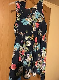 black and multicolored floral print sleeveless keyhole front mini dress Sumter, 29150