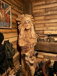6ft hand carved Indian with wolf $2200 Mississauga, L5A 2A6