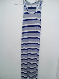 women's white and blue striped sleeveless dress