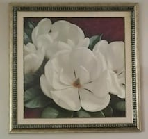 white petaled flower painting with brown wooden fr