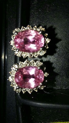Pink topaz and diamond studded earrings