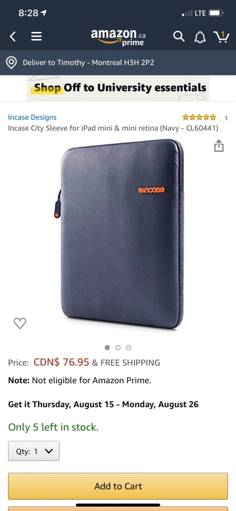 Navy - CL60441 Incase City Sleeve for iPad mini /& mini retina