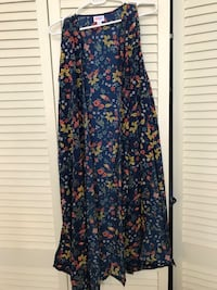 blue and beige floral-print open-front robe