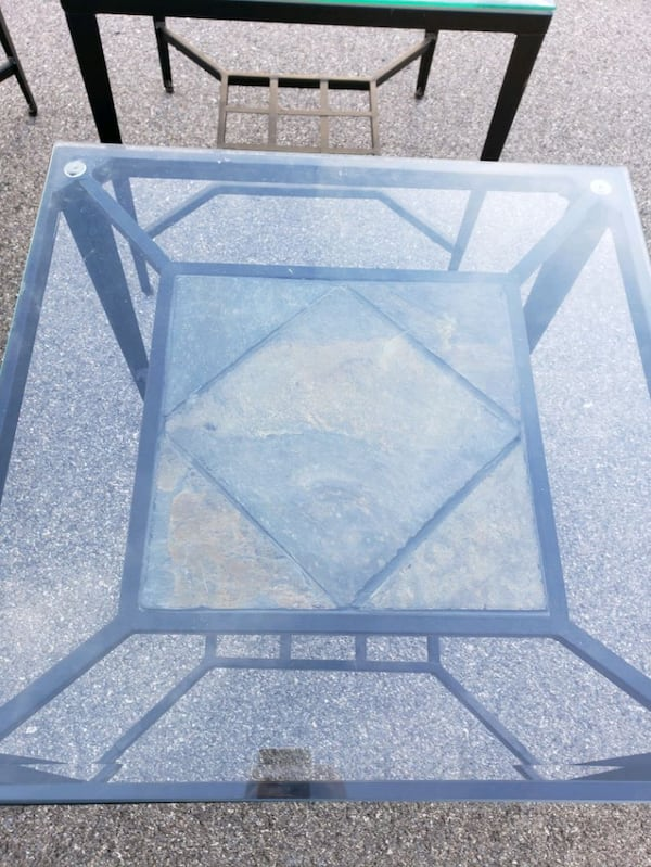Metal and glass coffee table and 2 end tables.   a04dc705-9309-4785-9154-761c0c2ce270
