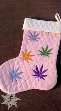 Quilted Cannabis Leaf Holiday Christmas Stocking Albuquerque