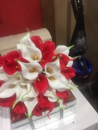 Wedding white and red calla lily flower bouquet Santa Clara, 95050