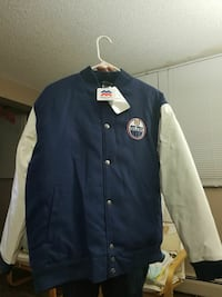 blue and white Edmonton Oilers  jacket 3154 km