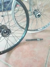 two black and blue bicycle wheels Bakersfield, 93304