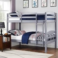 Better Homes and Gardens Leighton Twin Over Twin Wood Bunk Bed, Grey (New in Box) Fort Wayne