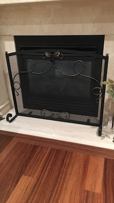 black metal fireplace screen