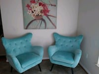 two blue fabric sofa chairs Gaithersburg, 20879