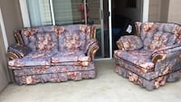 Purple, maroon , and white floral loveseat with sofa chair Centennial, 80111