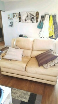 Set of 2, beige leather couch,and loveseat  Edmonton, T5P 3P7