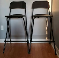 2 Bar stools with backrest, foldable, black 29 1/8