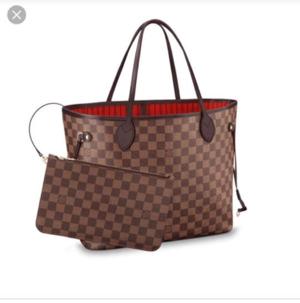 Used Monogrammed Brown And Red Louis Vuitton Leather Tote Bag Screenshot For Sale In Macomb Letgo