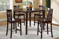 rectangular brown wooden table with four chairs dining set Fresno, 93728