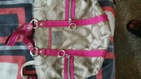 women's gray and pink Coach tote bag Charlotte, 28208