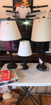 two black base white shade table lamps Leesburg, 20176