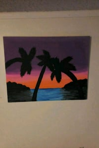 silhouette of tree painting with black wooden frame 569 mi