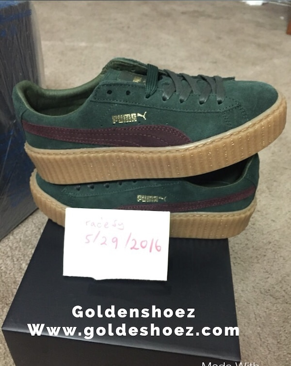 watch e61ef 7a558 New puma Rihanna fenty suede creeper green Bordeaux