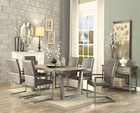 NEW Weathered Oak Silver Dining 7 PIECE Table Set Riverside