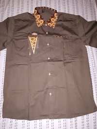 Brown Shirt with gold color design, Tel. [PHONE NUMBER HIDDEN]