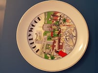 white and red ceramic with Hollywood print plate