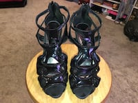 pair of black leather open-toe strappy heels Temple Hills, 20748