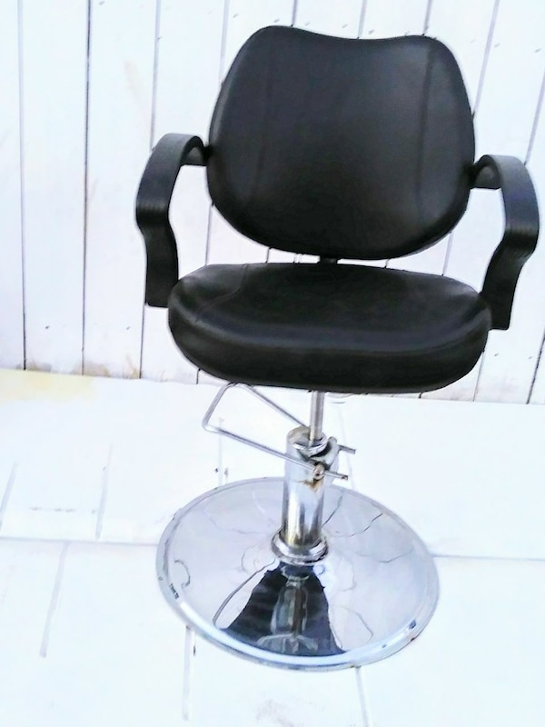 black leather padded barber chair