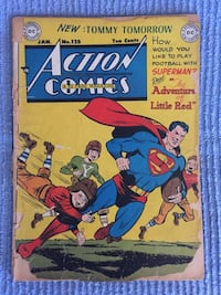 Action Comics Superman, The Adventure of Little Red, book 128, Jan. Copyright 1949 by National Comics Publications. Cover detached, fragile and in poor shape. Tears in binding. Page ripped. Grade Fair Block Island, 02807