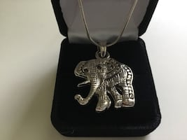 Silver Elephant Necklace with a Chain